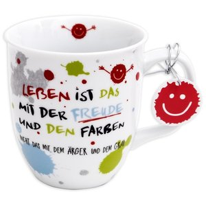 """Happy Life 45357 Tasse mit Motivdruck: \""""Leben ist das mit der F"""