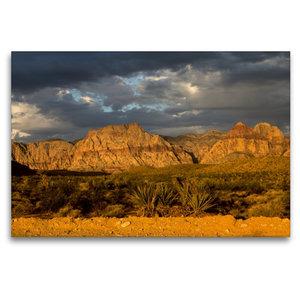 Premium Textil-Leinwand 120 cm x 80 cm quer Red Rocks, Nevada