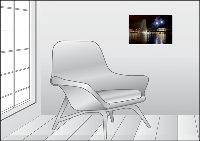 Premium Textil-Leinwand 45 cm x 30 cm quer Dom Feuerwerk - zum Schließen ins Bild klicken