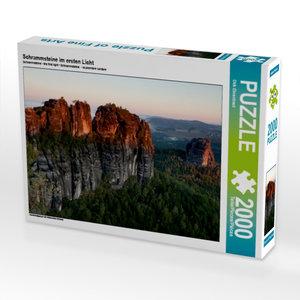 CALVENDO Puzzle Schrammsteine im ersten Licht 2000 Teile Lege-Gr