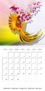 Parrots and Roses (Wall Calendar 2020 300 × 300 mm Square)