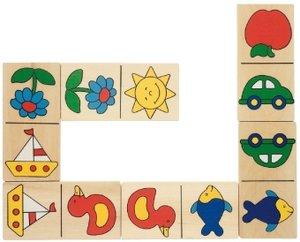 Dominospiel Dominiques Domino im Holzkasten