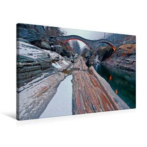 Premium Textil-Leinwand 75 cm x 50 cm quer Bootshaus mit Blick a