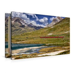 Premium Textil-Leinwand 90 cm x 60 cm quer Der rote Zug