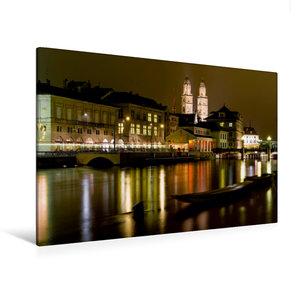 Premium Textil-Leinwand 120 cm x 80 cm quer Zürich in der Nacht