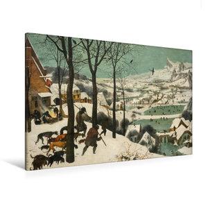 Premium Textil-Leinwand 120 cm x 80 cm quer Jäger im Schnee (Win