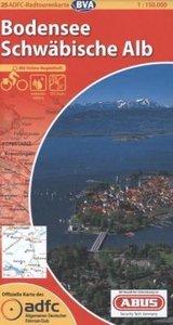 ADFC-Radtourenkarte 25 Bodensee / Schwäbische Alb 1 : 150 000