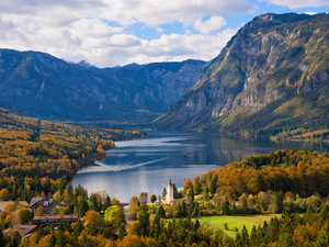 CALVENDO Puzzle See Bohinj Landschaft im Herbst 1000 Teile Lege-