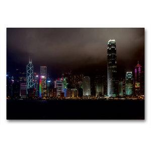 Premium Textil-Leinwand 90 cm x 60 cm quer Hong Kong Island