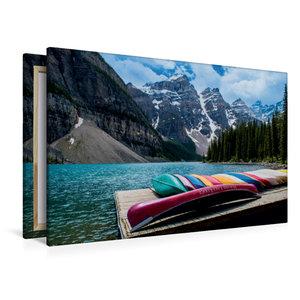 Premium Textil-Leinwand 120 cm x 80 cm quer Moraine Lake
