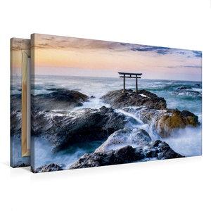 Premium Textil-Leinwand 75 cm x 50 cm quer Japanisches Torii am
