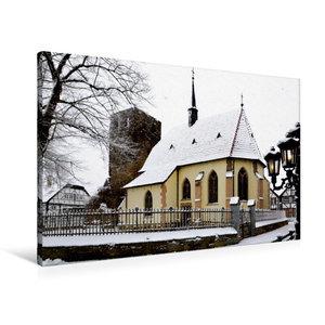 Premium Textil-Leinwand 90 cm x 60 cm quer Charmante Dorfkapelle