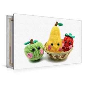 Premium Textil-Leinwand 120 cm x 80 cm quer Gehäkelte süße Früch