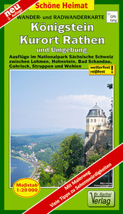 Radwander- und Wanderkarte Königstein, Kurort Rathen und Umgebun