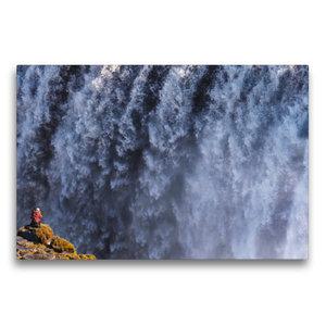 Premium Textil-Leinwand 75 cm x 50 cm quer Fotograf am Dettifoss