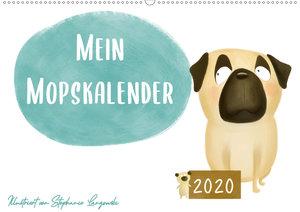 Mein Mopskalender (Wandkalender 2020 DIN A2 quer)