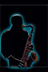 Premium Textil-Leinwand 50 cm x 75 cm hoch Saxophonist