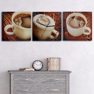 Wanduhr Kaffee 3-teilig