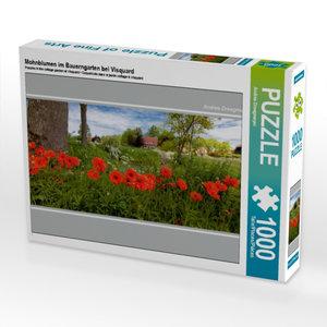Mohnblumen im Bauerngarten bei Visquard 1000 Teile Puzzle quer