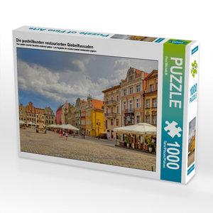 Die pastellbunten restaurierten Giebelfassaden 1000 Teile Puzzle