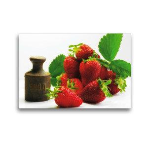 Premium Textil-Leinwand 45 cm x 30 cm quer Frische Erdbeeren