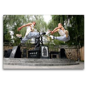 Premium Textil-Leinwand 120 cm x 80 cm quer Shaolin Kung Fu