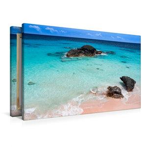 Premium Textil-Leinwand 90 cm x 60 cm quer Pink Coral Beach - Be