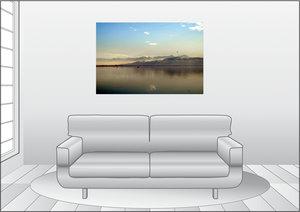 Premium Textil-Leinwand 120 cm x 80 cm quer Nebel über dem Rhein