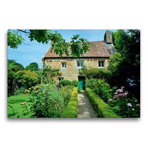 Premium Textil-Leinwand 75 cm x 50 cm quer Haus mit Garten auf J