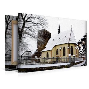 Premium Textil-Leinwand 45 cm x 30 cm quer Charmante Dorfkapelle