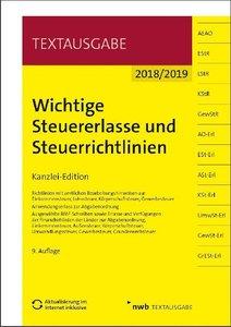 Wichtige Steuererlasse und Steuerrichtlinien 2018/2019