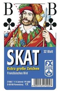 Klassisches Skatspiel, Französisches Bild mit großen Eckzeichen.