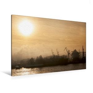 Premium Textil-Leinwand 120 cm x 80 cm quer Nebel im Hafen