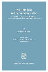 Die Hoffinanz und der moderne Staat.