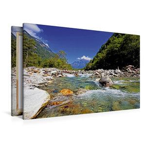 Premium Textil-Leinwand 120 cm x 80 cm quer Der Verzasca Fluss f
