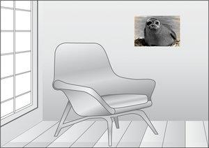 Premium Textil-Leinwand 45 cm x 30 cm quer Seehund