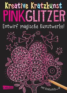 Kreative Kratzkunst: Pink Glitzer: Set mit 10 Kratzbildern, Anle
