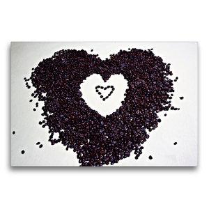 Premium Textil-Leinwand 75 cm x 50 cm quer Ein Herz für Kaffee