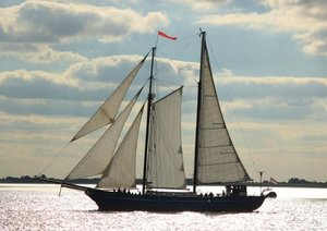 Sailboat in front of Bremerhaven - Northern Germany / UK-Version