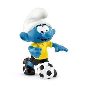 Fußball Schlumpf mit Ball, Kunststoff-Figur