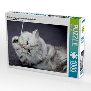 Britisch Langhaar Kätzchen beim Spielen 1000 Teile Puzzle quer
