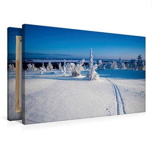 Premium Textil-Leinwand 75 cm x 50 cm quer Skispur in die Ferne