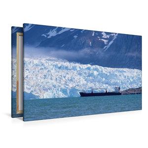Premium Textil-Leinwand 120 cm x 80 cm quer Ein Frachter auf Ree
