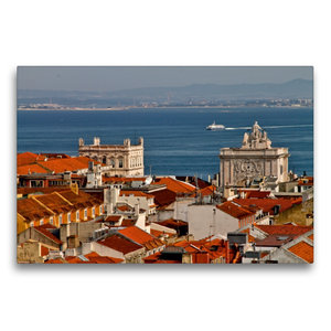 Premium Textil-Leinwand 75 cm x 50 cm quer Blick über Lissabon