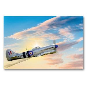 Premium Textil-Leinwand 90 cm x 60 cm quer Modellflugzeug in Akt