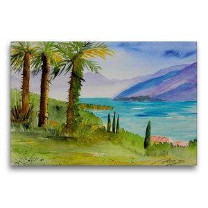 Premium Textil-Leinwand 75 cm x 50 cm quer Am Lago Maggiore