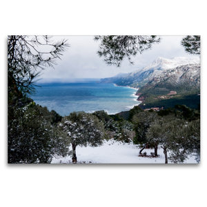 Premium Textil-Leinwand 120 cm x 80 cm quer Winterstimmung mit S
