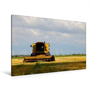 Premium Textil-Leinwand 120 cm x 80 cm quer Mähdrecher auf einem