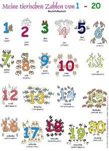 Meine tierischen Zahlen von 1-20. Poster Deutsch / Russisch
