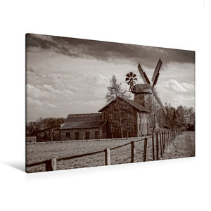 Premium Textil-Leinwand 120 cm x 80 cm quer Historische Mühle